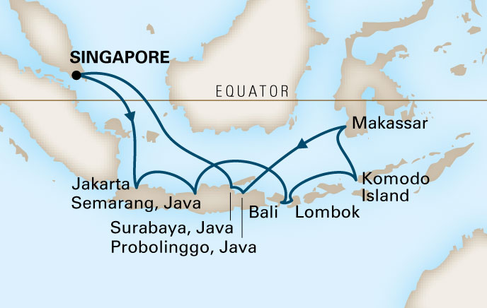 Cruise Indonesie - routekaart