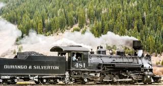 Durango and Silverton Narrow Gauge Railroad train leaving Silverton, CO